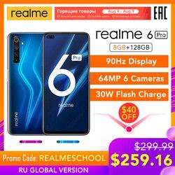 Reyno 6 Pro Versão Global 8GB de RAM 128GB ROM Snapdragon 720G 30W Flash de Carga 4300mAh 64MP Câmera NFC Carregador DA UE Play Store