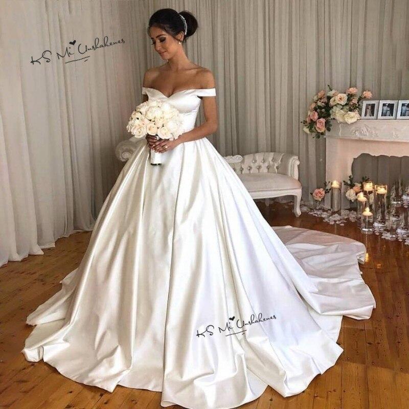 Ivory Cheap Wedding Dress Satin Simple Off Shoulder Long Train Bride Dresses 2020 China Wedding Gowns Vestidos De Noiva Barato
