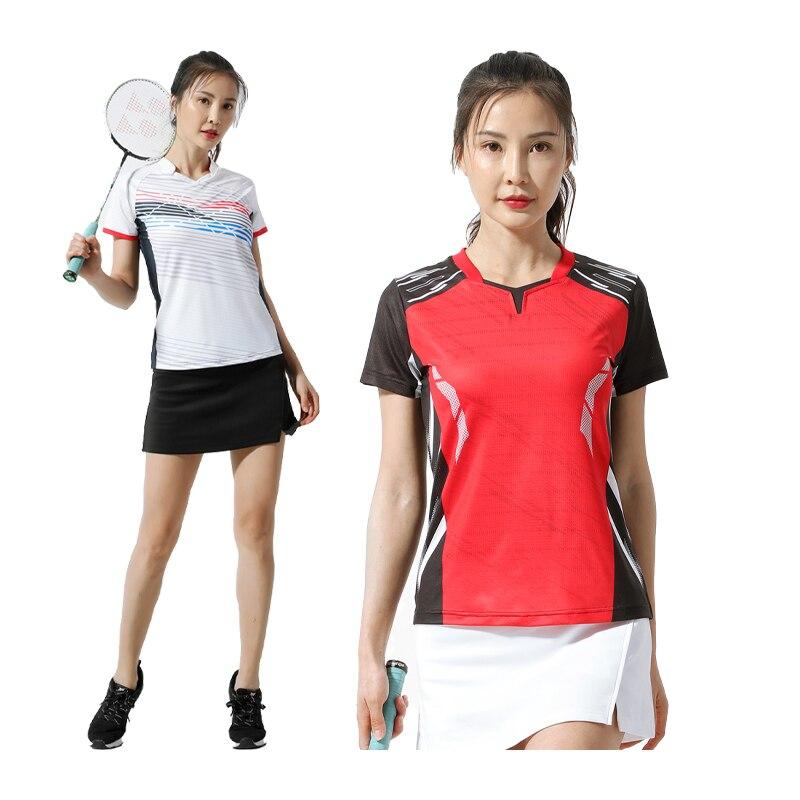 Chemise de Badminton respirante à séchage rapide pour femmes, t-shirt de Tennis de Table, de sport, de jeu d'équipe, d'entraînement, de course à pied, à manches courtes