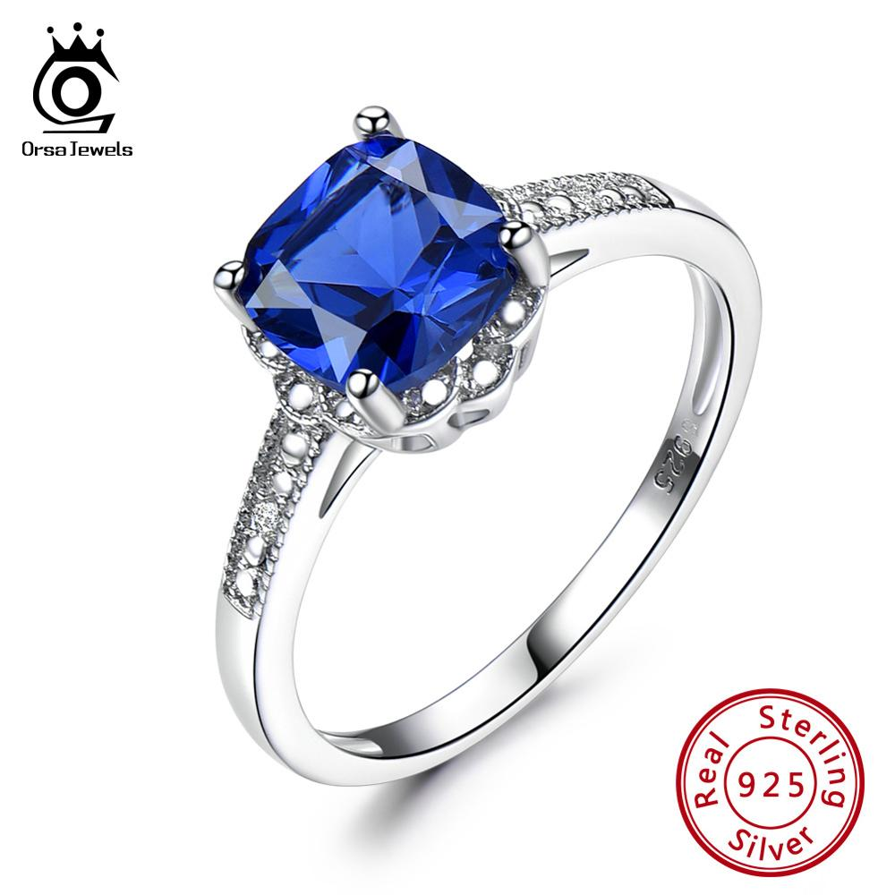 ORSA JEWELS Luxury 925 Sterling Silver Sapphire Women Wedding Band Ring Square Natural Blue Gemstone Eternity Fine Jewelry VSR19