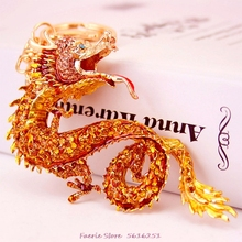 Fashion Creative Keychain Gift Zodiac Dragon Golden Key Chain Bag Car Pendant Keyring Cool Accessories Luck For You