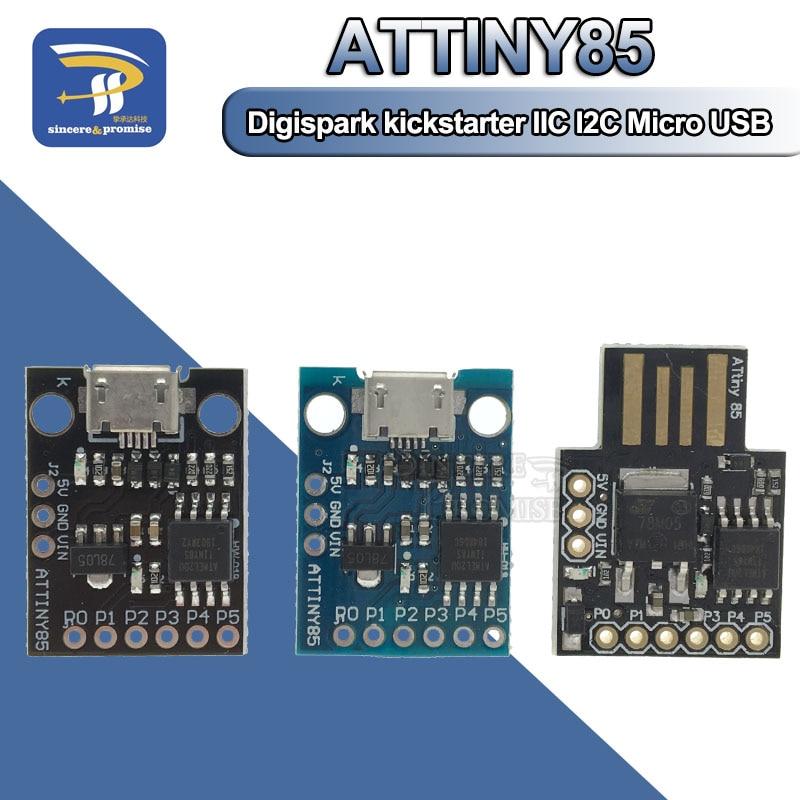 ATTINY Blue Black TINY85 Digispark Kickstarter Micro Development Board ATTINY85 Module For Arduino IIC I2C USB ATTINY45
