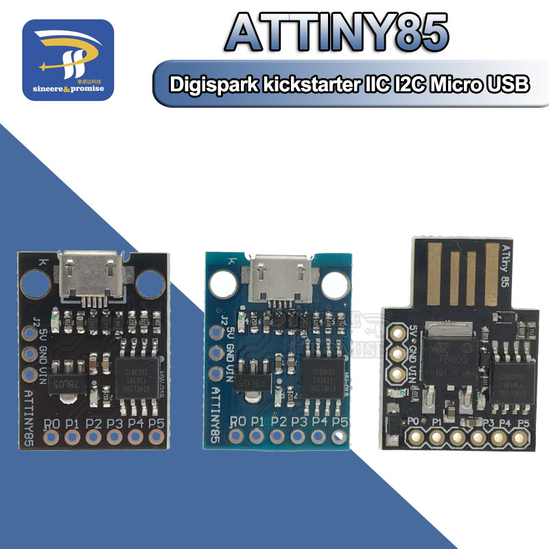 ATTINY Blue Black TINY85 Digispark Kickstarter Micro Development Board ATTINY85 module for Arduino IIC I2C USB ATTINY45(China)