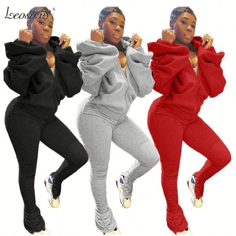 2 adet eşofman kadın sonbahar kış moda gri Backless Hoodie Sweatshirt yüksek bel yığılmış pantolon joggers iki parçalı Set s-3XL