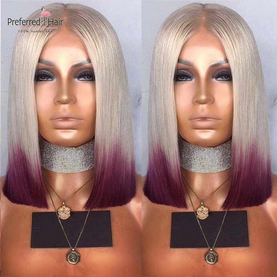 Preferred Ombre Human Hair Wig Brazilian Lime Green Lace Fron Wig With Baby Hair Preplucked Short Bob Wigs For Black Women