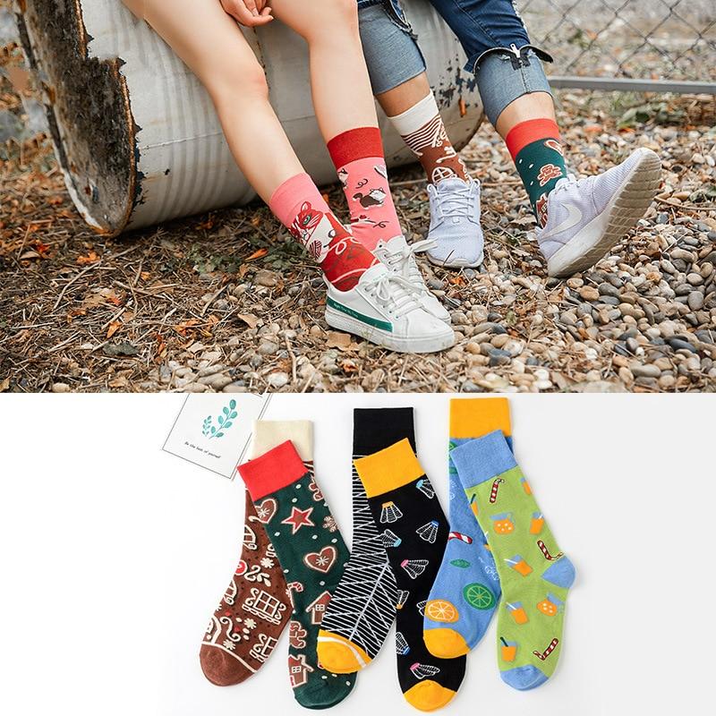 1Pair Male Crew Socks Men Casual Sock Cotton Unique Lovers Cartoon Funny Cute Cool Unisex Socks Mid Length Asymmetric Socks