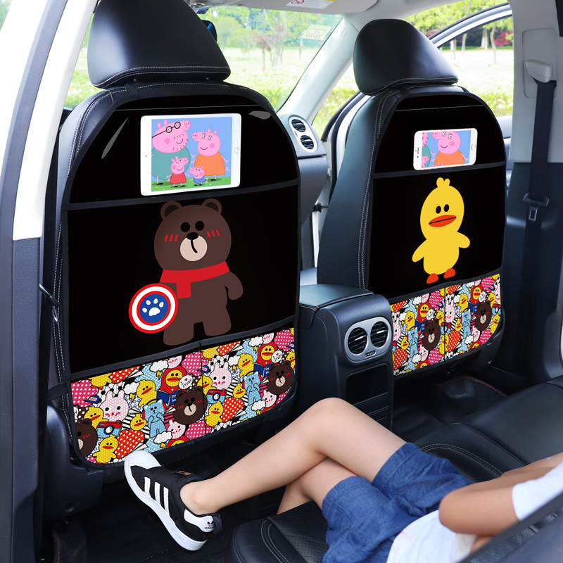 Cartoon Cute Car Seat Back Cover Protector for Kids Children 1Pcs Anti Kick Mat Waterproof Anti-dirt Protective Pad for Car