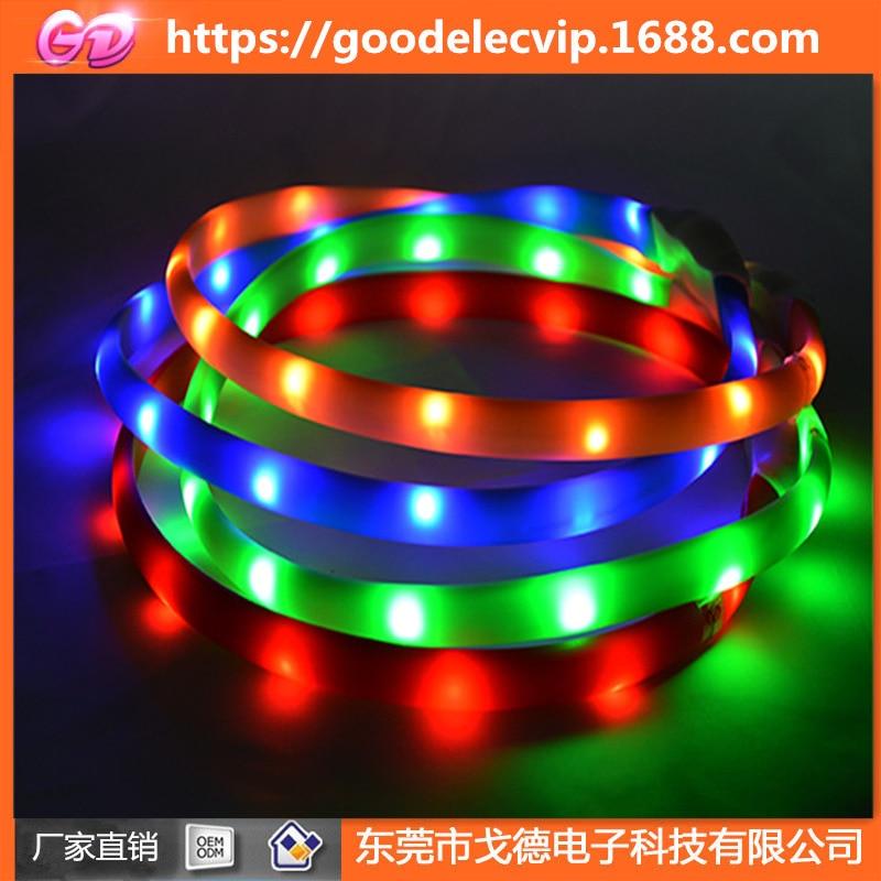 Pet Supplies Waterproof USB Charging-Free Tailor Silica Gel LED Luminous Dog Collar