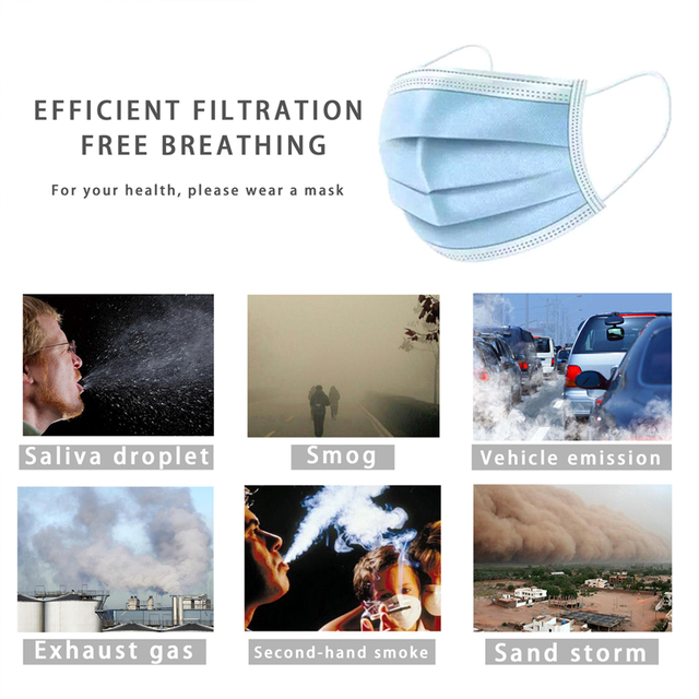 200Pcs 3 Layer Disposable Anti Dust Hygiene Face Mask Non Woven Men Women Anti Fog Flu Face Mouth Masks Breathable Mouth Cover 1