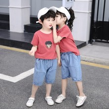 The new 2019 summer cuhk children childrens private sister and the brother suit cartoon loose jeans