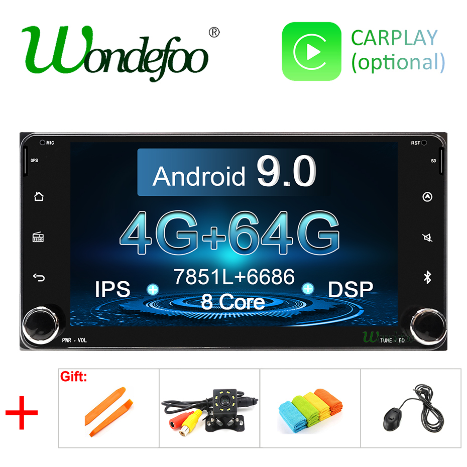 4G/64G car radio 2DIN Android 9 For Toyota universal RAV4 COROLLA VIOS HILUX 2 DIN car stereo audio multimedia navigation screen(China)
