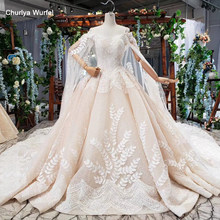 HTL775 ball gown bride dresses with cape champagne pattern spaghetti straps wedding dress gown with shawl свадебное платье 2019(China)