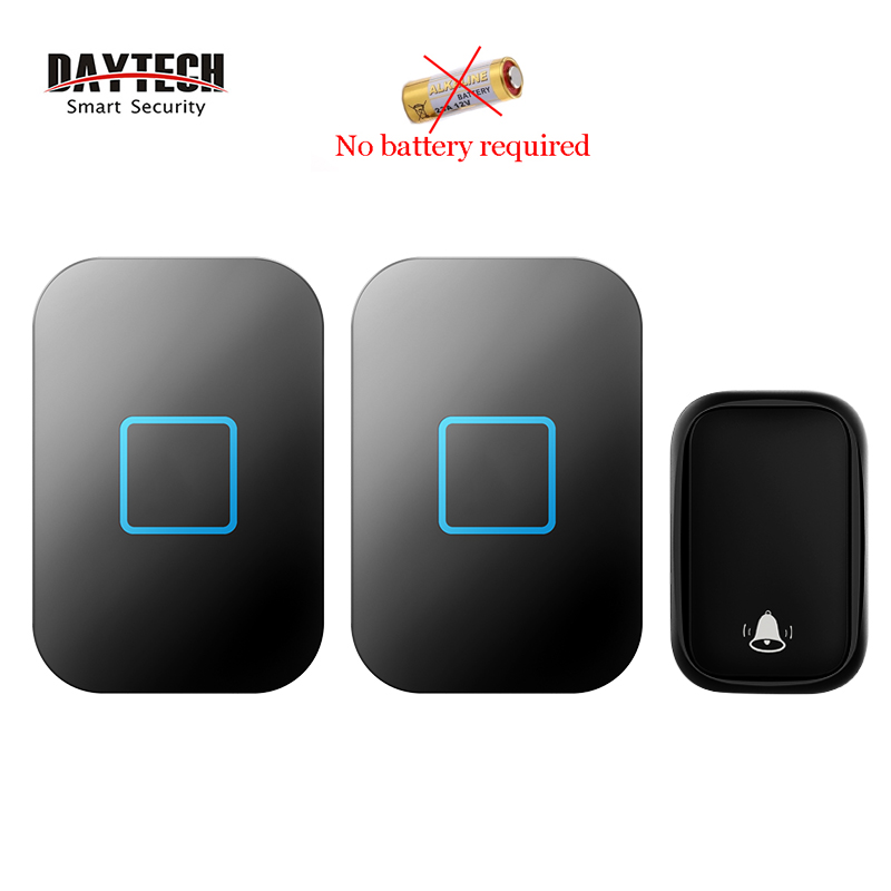 DAYTECH  Wireless Doorbell  No Batteries Required 60 Chimes 2 Receivers With 1 Button(DB09BL)