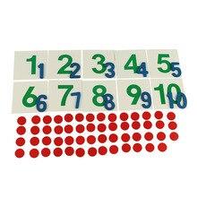 Монтессори вспомогательный материал для обучения Монтессори математика Семейный пакет с цифрами с чипами Математика раннее образование 1-10 когнитивные