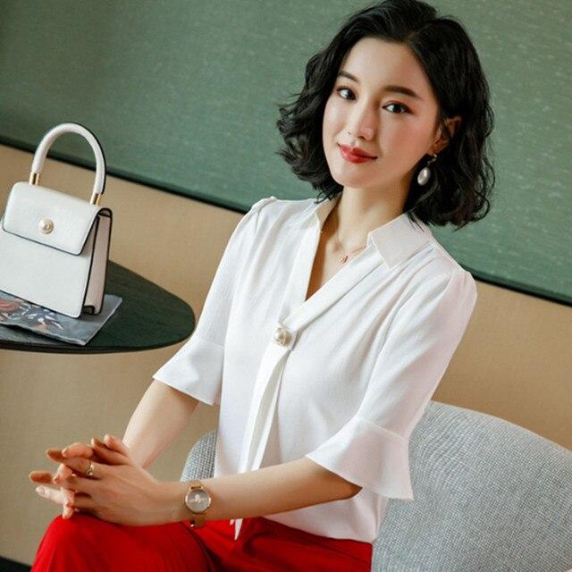 Korean Silk Women Blouses Woman Satin Blouse Tops Plus Size Blusas Mujer De Moda 2020 Women V Neck Soild Shirt Top Camisas Mujer 3