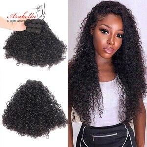 Image 1 - Splecione kręcone włosy wiązki 1/3 wiązki naturalny kolor Remy 100% doczepy z ludzkich włosów Arabella podwójne pasma włosów wiązki