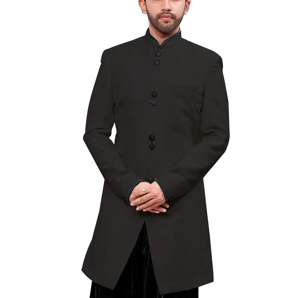 Mandarin Kragen Traditionelle Männer Anzug Jacke Stand up Kragen Modest Lange Blazer Indische Formales Ereignis Mantel Hochzeit Bräutigam Oberbekleidung