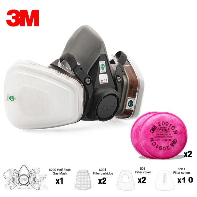 3M 7 في 1/17 في 1 6200 الصناعية نصف الوجه اللوحة الرش التنفس قناع واقي من الغاز دعوى سلامة العمل تصفية الغبار قناع استبدال