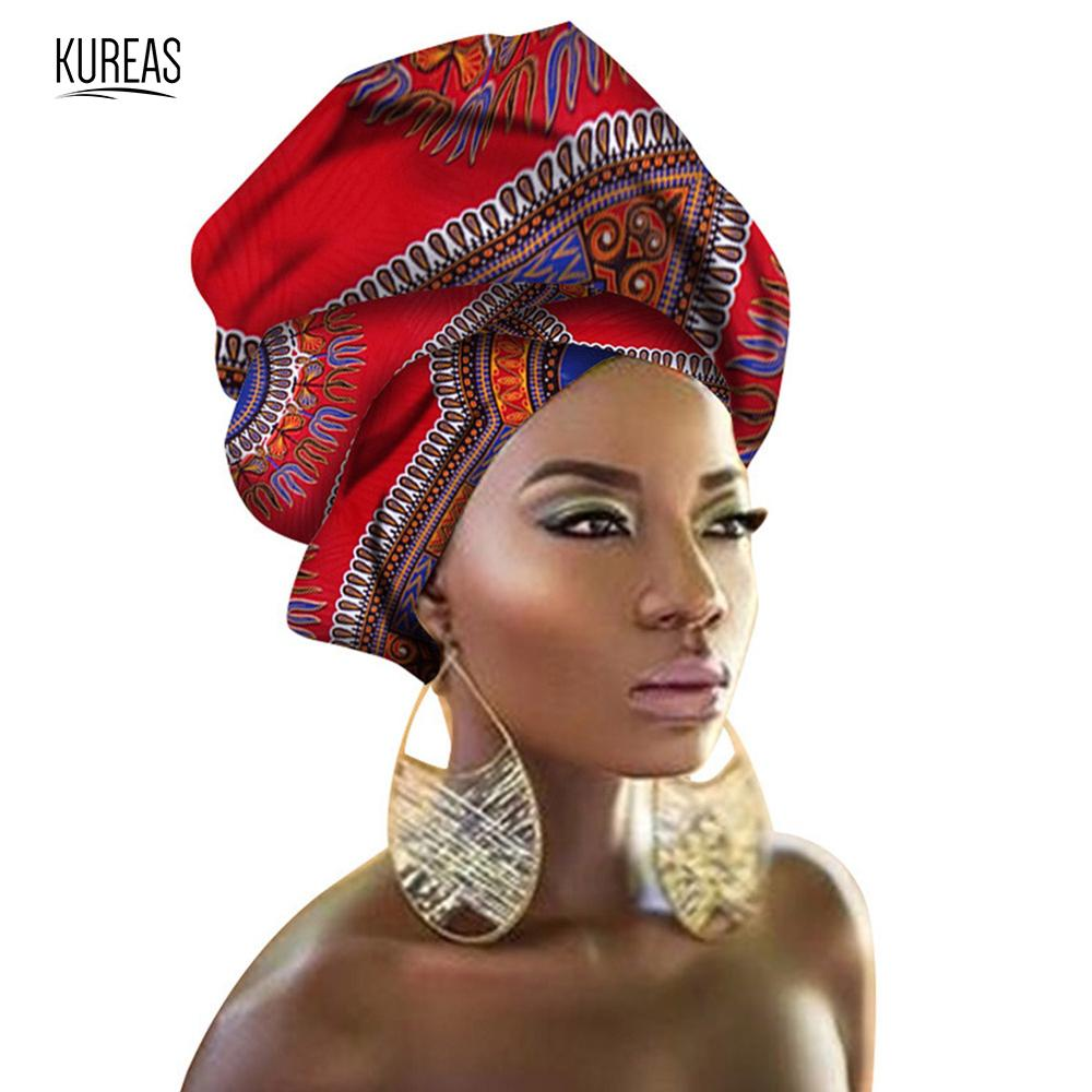 Kureas 32Colors Women African Batik Ankara Head Wrap Rich Print Head Band Nigerian Gele Headtie Traditional Clothes Scarf