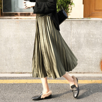 velvet Pleated skirt women's Autumn Winter Vintage black skirts womens faldas mujer moda 2019 Long Maxi High Waist Party Skirt 2