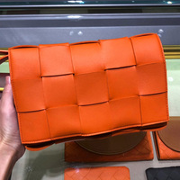 New Arrival Genuine Leather Fashion Women's Bag Weave style Checkered pattern Shoulder bag Leisure Flap bag