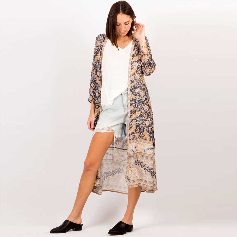 Long Kimono duster black floral summer cardigan womens shirt Blouses half sleeves beach Women Blouses tunic tops blouses 2020