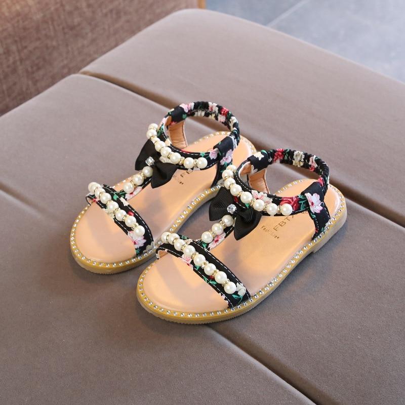 2020 Summer Baby Girls Sandals Toddler Infant Kids Slip On Pearl Crystal Single Princess Sandals For Children Girls Size 21-30