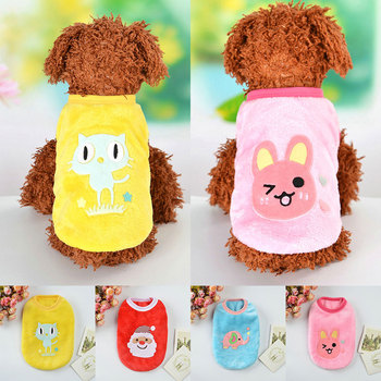 Winter Fleece Warm Dog Vest Dog Clothes Cute Rabbit Cat Printed Dogs T-shirt For Small Medium Dogs Supplies Christmas Cat Vest image