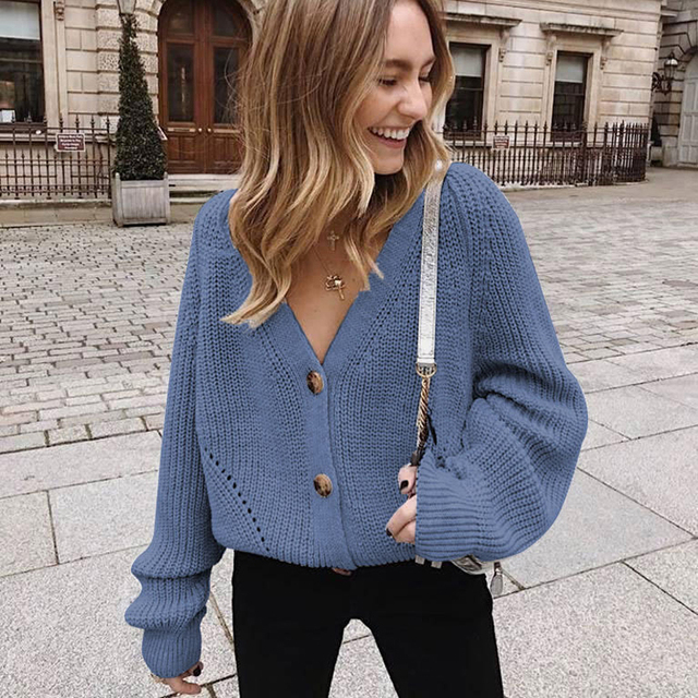 Zoki Women Knitted Cardigans Sweater Fashion Autumn Long Sleeve Loose Coat Casual Button Thick V Neck Solid Female Tops 2021 6