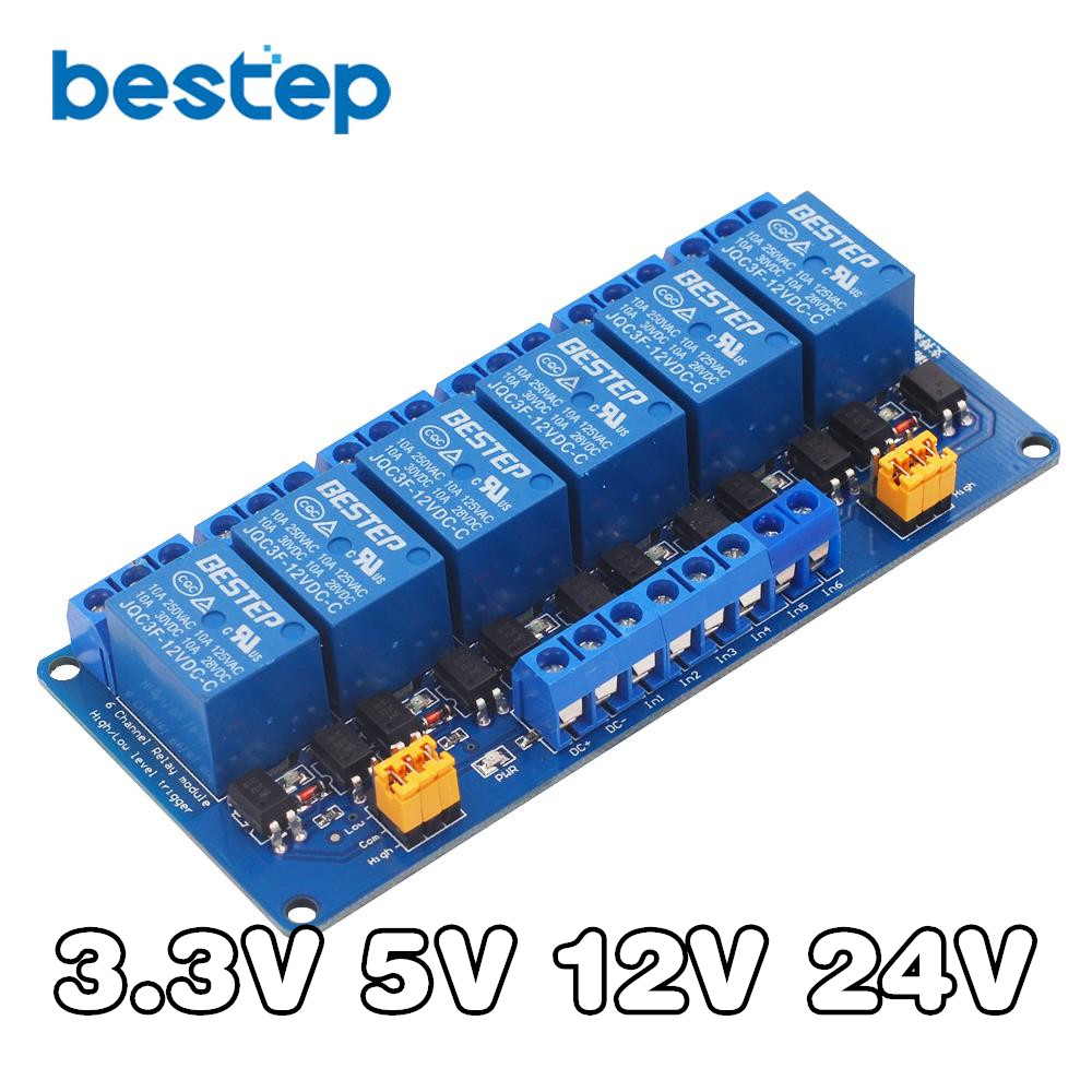 3.3V 5V <font><b>12V</b></font> <font><b>24V</b></font> 6 Channel Relay Module High and Low Level Trigger with Optocoupler Relay Output 6 way Relay Module for <font><b>Arduino</b></font> image