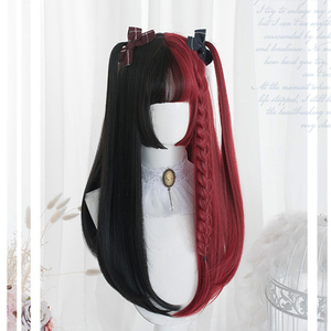 MEIFAN Long Wavy Ombre Black White Pink Heat Resistant Synthetic Lolita Wigs for Women Halloween Cosplay Costume Party Wig