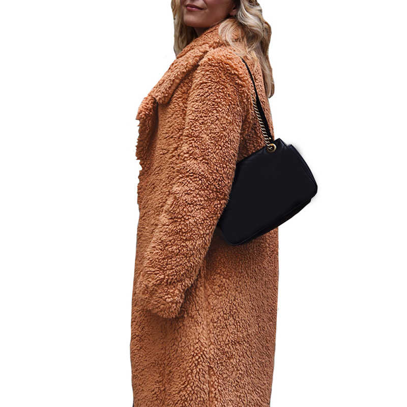 2019 Nieuwe Winter Dikker Fleece Jassen Vrouwen Lange Warme Lange Mouw Faux Fur Revers Jas Vrouwelijke Teddy Vest Uitloper