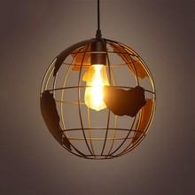 Forma de la tierra Vintage Industrial estilo lámparas Simple de hierro forjado colgante Loft lámpara de techo para interior