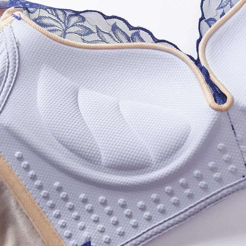 セクシーなレースのブラジャー女性のためのプッシュアップブラディープ V ランジェリーワイヤレスブラジャー Bralette プラスサイズ下着インナー 90C 新 # F