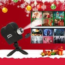 цена на Window Display Laser DJ Stage Lamp Christmas Spotlights Projector Wonderland 12 Movies Projector Lamp Halloween Party Lights