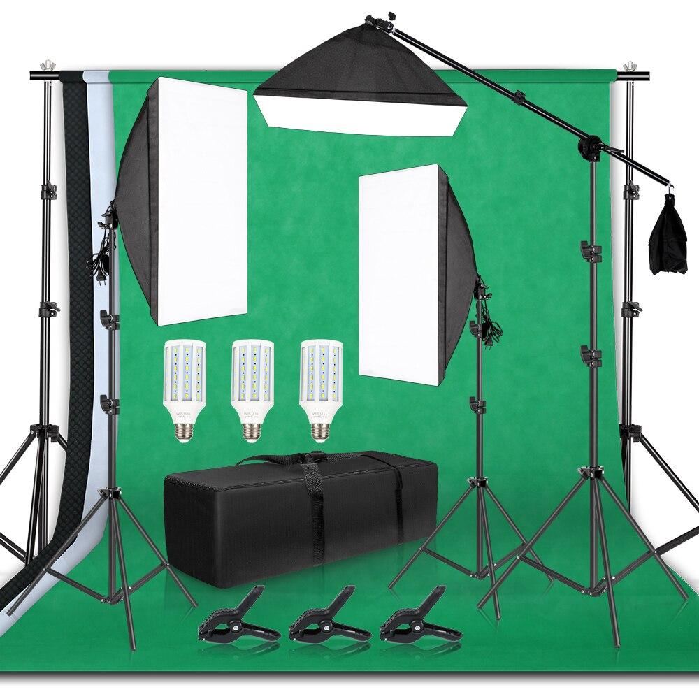 Support de cadre de fond de photographie Kit d'éclairage Softbox accessoires d'équipement de Studio Photo avec toile de fond 3 pièces et trépied