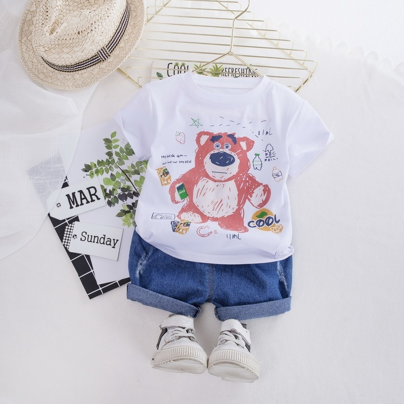Baby Girl Boy Summer Clothes Set Newborn Clothes Roupa Infantil Bebek Giyim Bear Tops T-shirt Printed Short Pants Outfits 1-4 Y