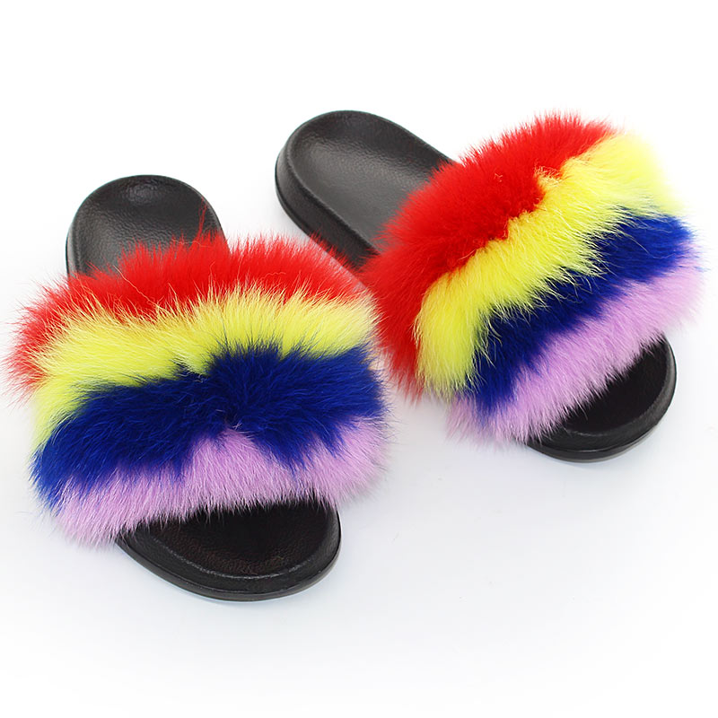 Fluffy Fur Slippers Women Real Fox Fur Slides Woman's Summer Slippers Flat Furry Home Party Shoes Fashion Casual Fuzzy Plush Fli