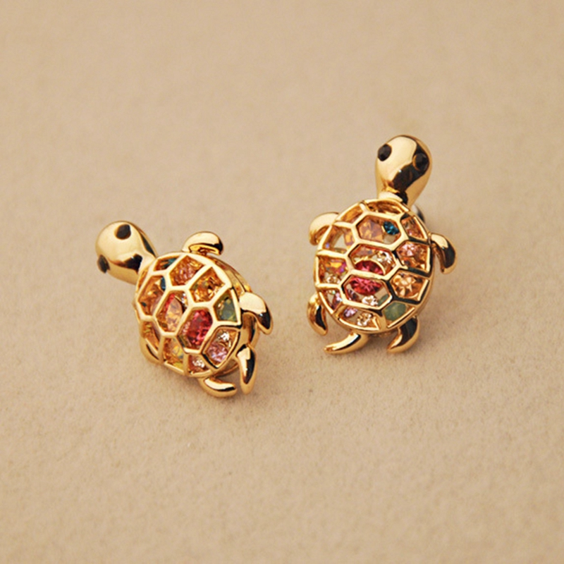 Vintage Turtle Stud Earrings Animal Colorful Crystal Hollow Gold Color Earrings For Women Rhinestone Earrings Jewelry BS2-0274