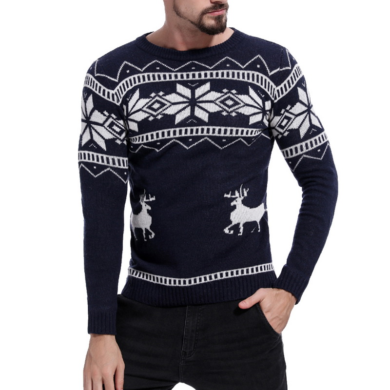 2019 Mens Causal  O Neck Christmas Sweater Men Deer Printed Autumn Winter Pullover Knitted Jumper Sweaters Slim Fit Men Clothes
