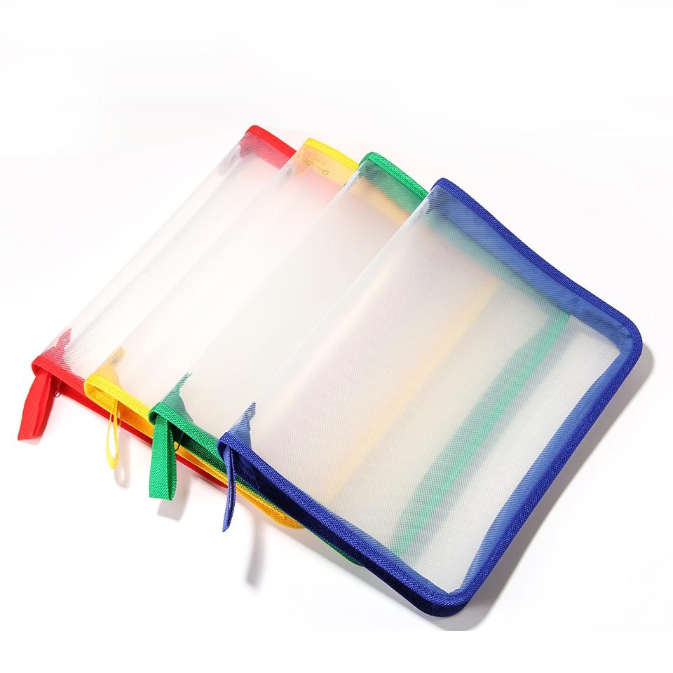 A4 Zipper Folder Thickened File Bag Waterproof Storage Bag Transparent Twill Information Kit File Folder