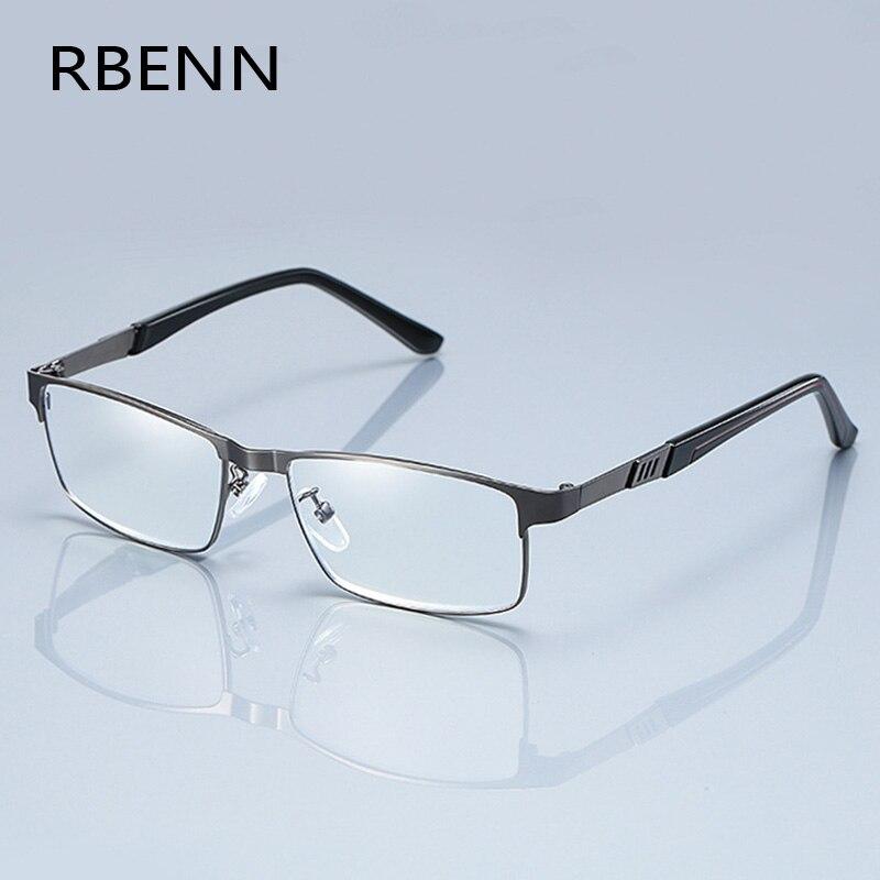 Rbenn aço inoxidável men business óculos de leitura quadro completo metal presbiopia óculos ópticos + 0.75 1.75 2.25 2.75 5.0 6.0