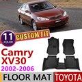 Кожаные автомобильные коврики на заказ для Toyota Camry XV 30 XV30 2002 ~ 2006 5 мест  водостойкий коврик для ног  аксессуары для ковров 2003 2004 2005
