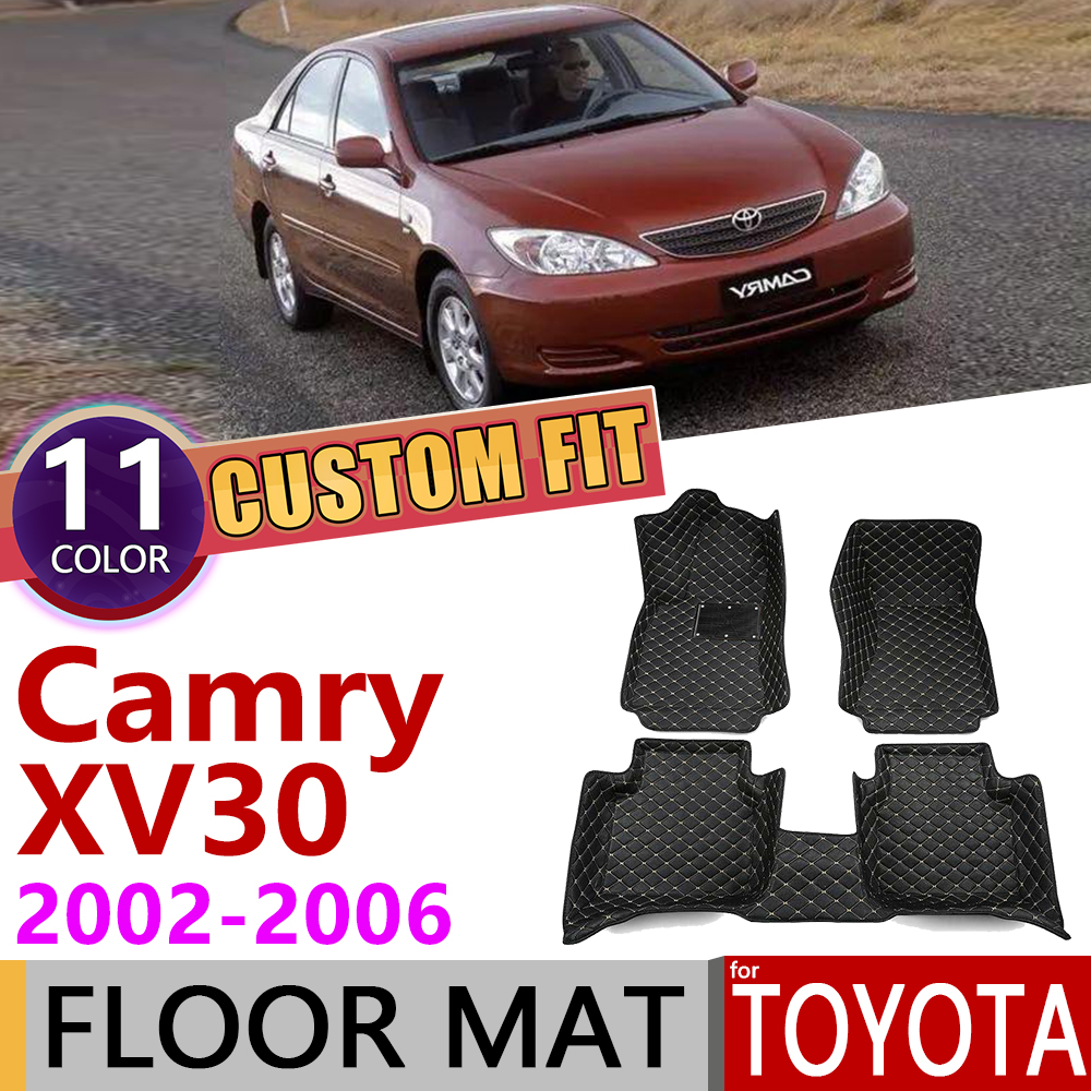 Custom Leather Car Floor Mats For Toyota Camry XV 30 XV30 2002~2006 5Seats Waterprool Foot Pad Carpet Accessories 2003 2004 2005