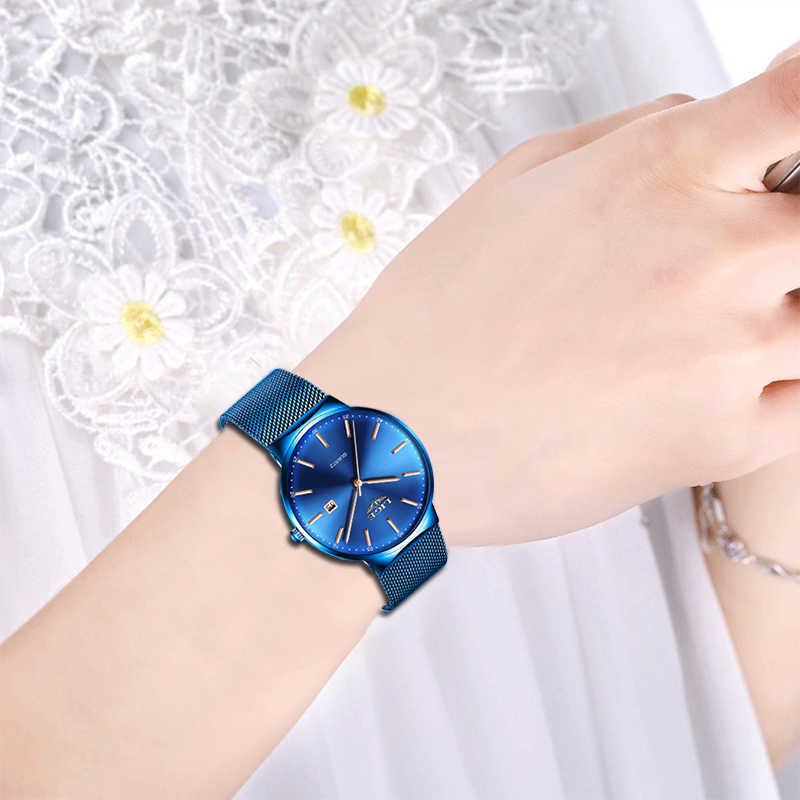 LIGE Women Watches Top Brand luxury Analog Quartz Watch Women Blue Mesh Strap Ladies Watches Fashion Ultra-thin Dial Date Clock