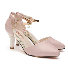 new fashion women pumps thin heels pointed toe women high heels buckle women shoes high heels wedding shoes 3-11 2019 fashion design women high heels ivory pearl wedding party shoes 3 inches heel bride shoes pointed toe ceremony event pumps