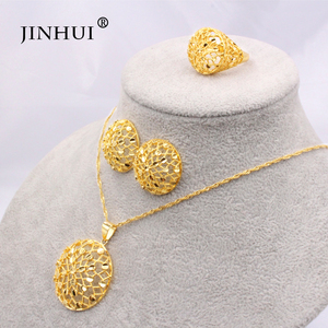 Ethiopia 24K gold color Dubai jewelry sets women African Party wedding gifts Necklace and Earrings ring sets 45cm Pendant gifts