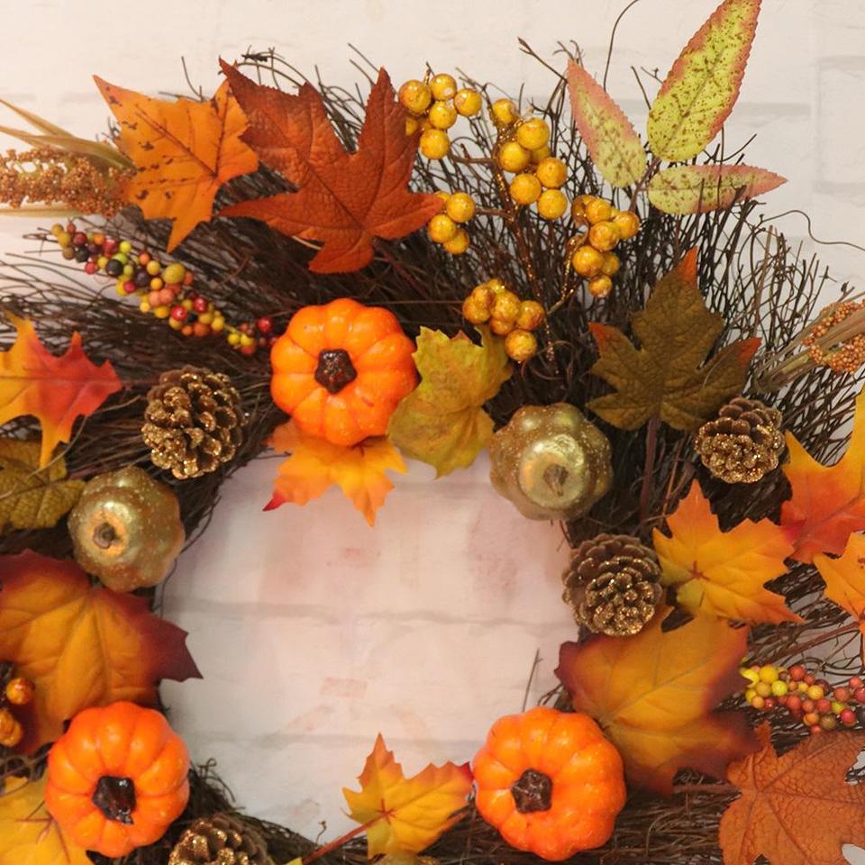 Artificial Leaves Wreat Pumpkin Wreath Halloween Pendant Hanging Door Ornament