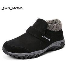 JUNJARM סופר חם חורף גברים מגפי נעלי רוסית סגנון קרסול שלג מגפי זמש עור גברים מגפיים עם פרווה חורף נעליים גודל 47