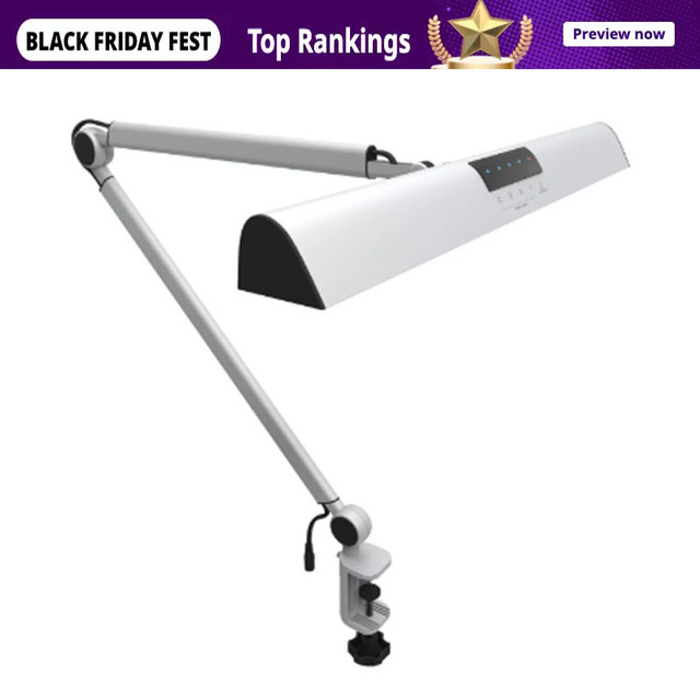 A509 Desk Lamp LED Light Swing Arm Architect Clamp Touch Table Lamp for Reading Working Silver 2 Lighting Modes,4 level Dimmable